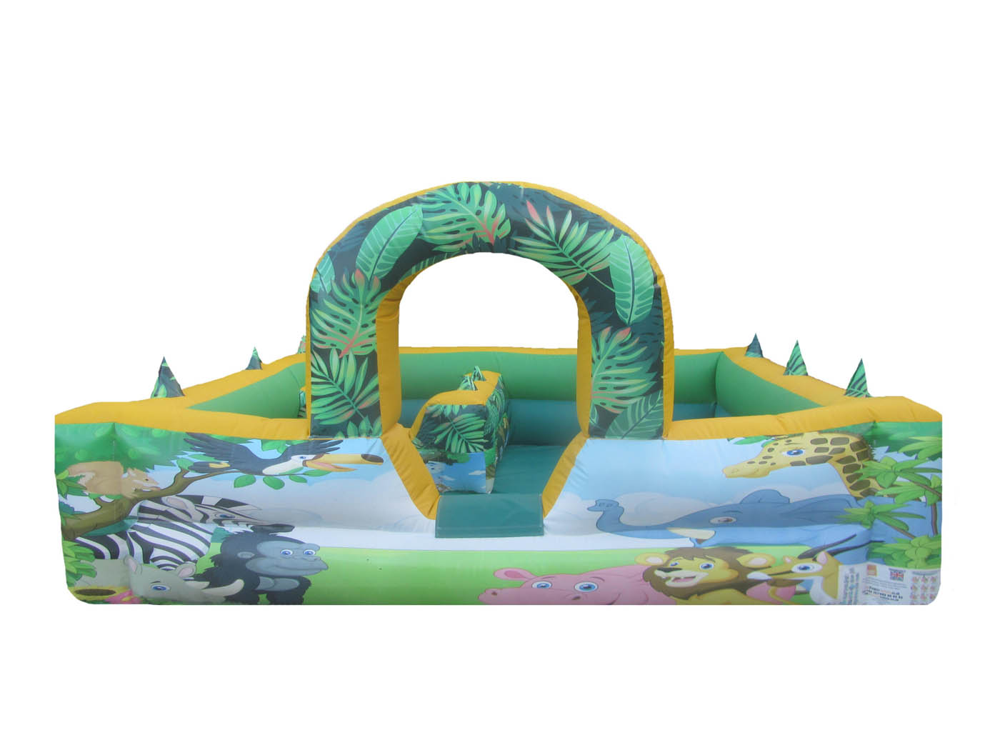 Commercial Inflatable Play Park with Jungle Themed Artwork