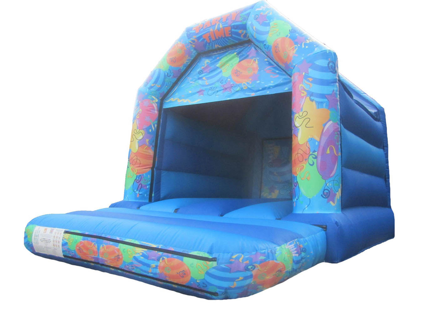 Blue Bouncy Castle with Party Themed Artwork
