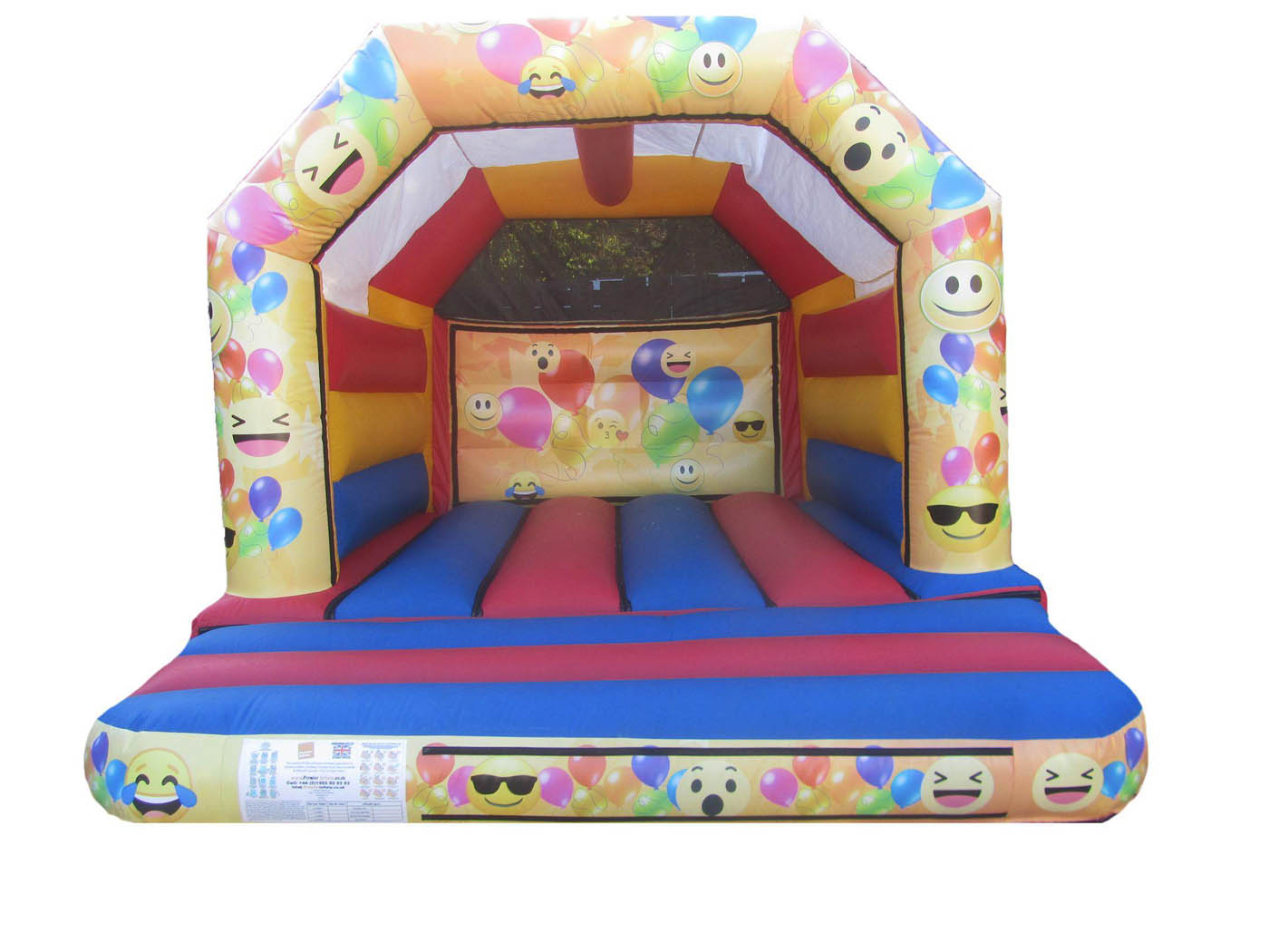 Commercial Childrens Bouncy Castle with Velcro and Emoji Themed Artwork