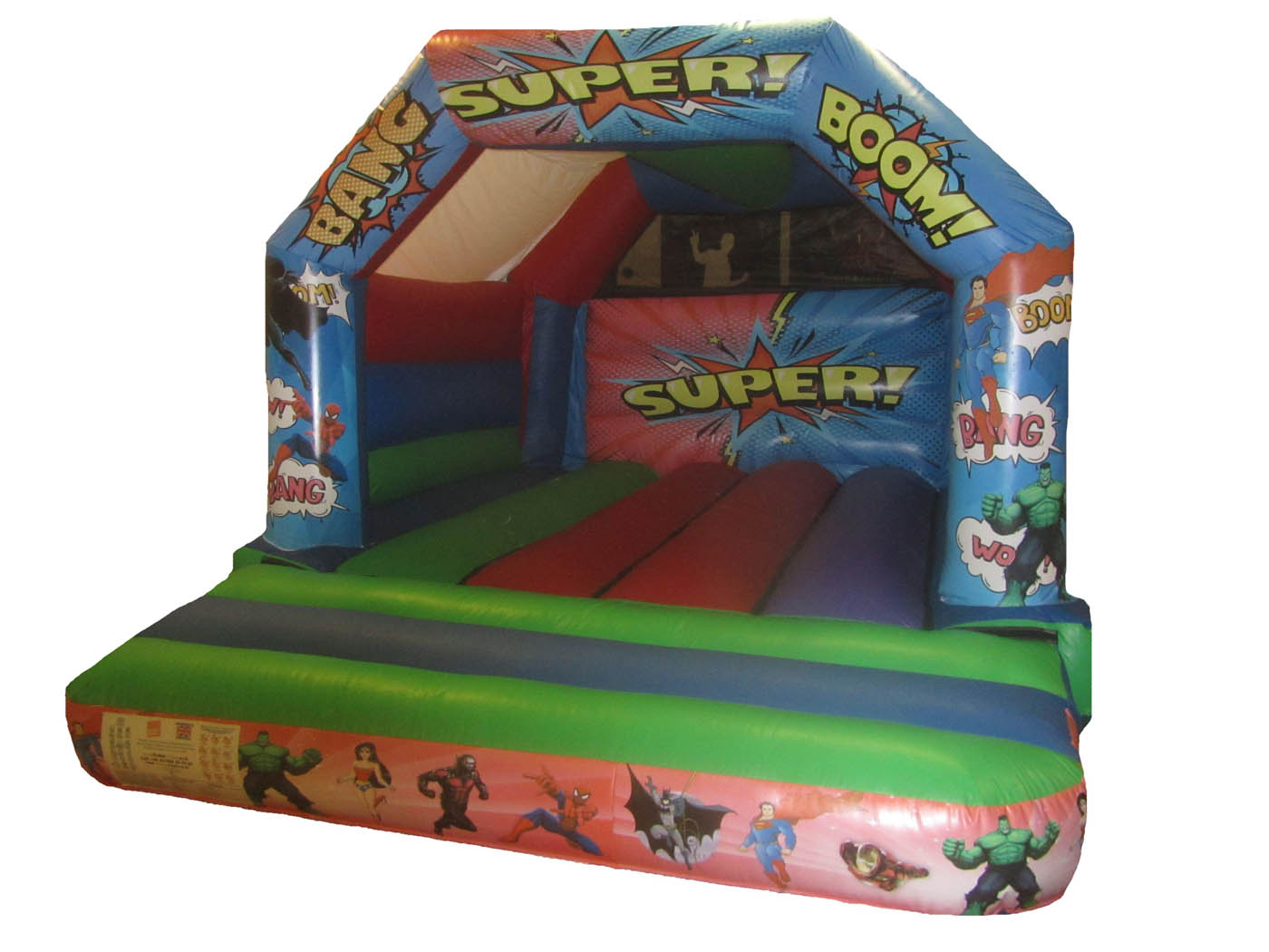Childrens Commercial Bouncy Castle with Superhero Artwork