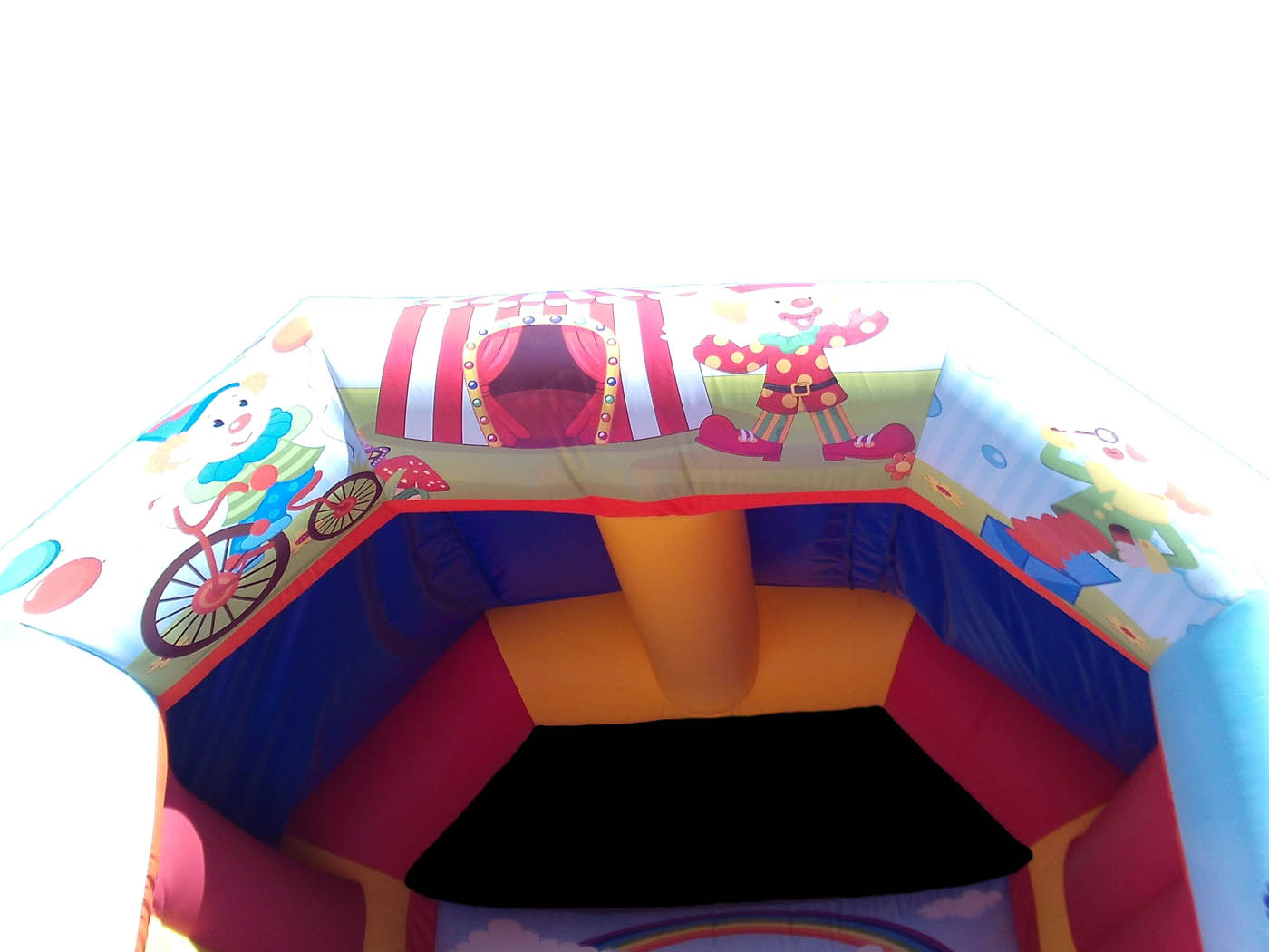 Circus themed artwork on bouncy castle