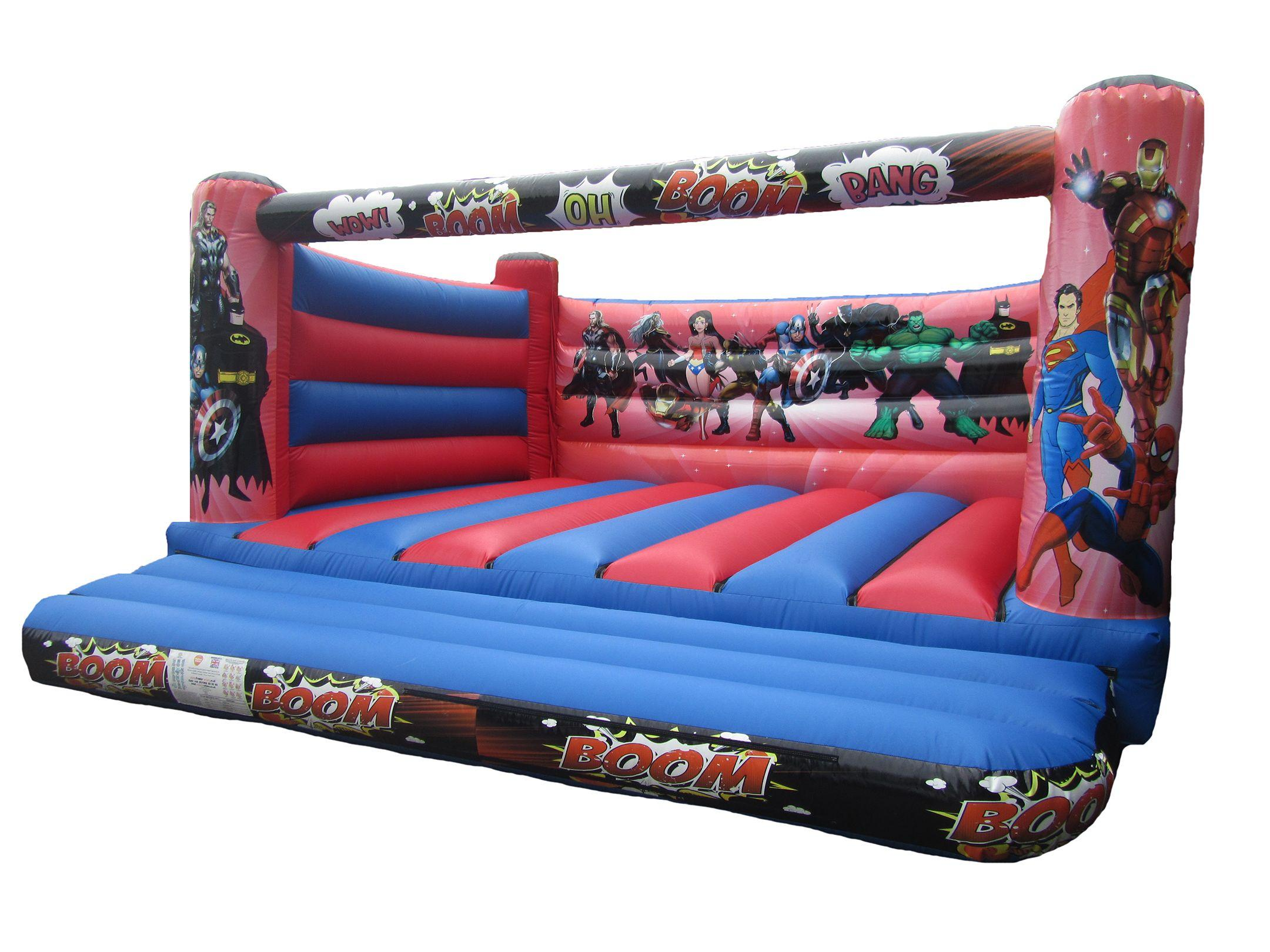 Commercial 4 post Adults Bouncy Castle with Superhero Themed Artwork