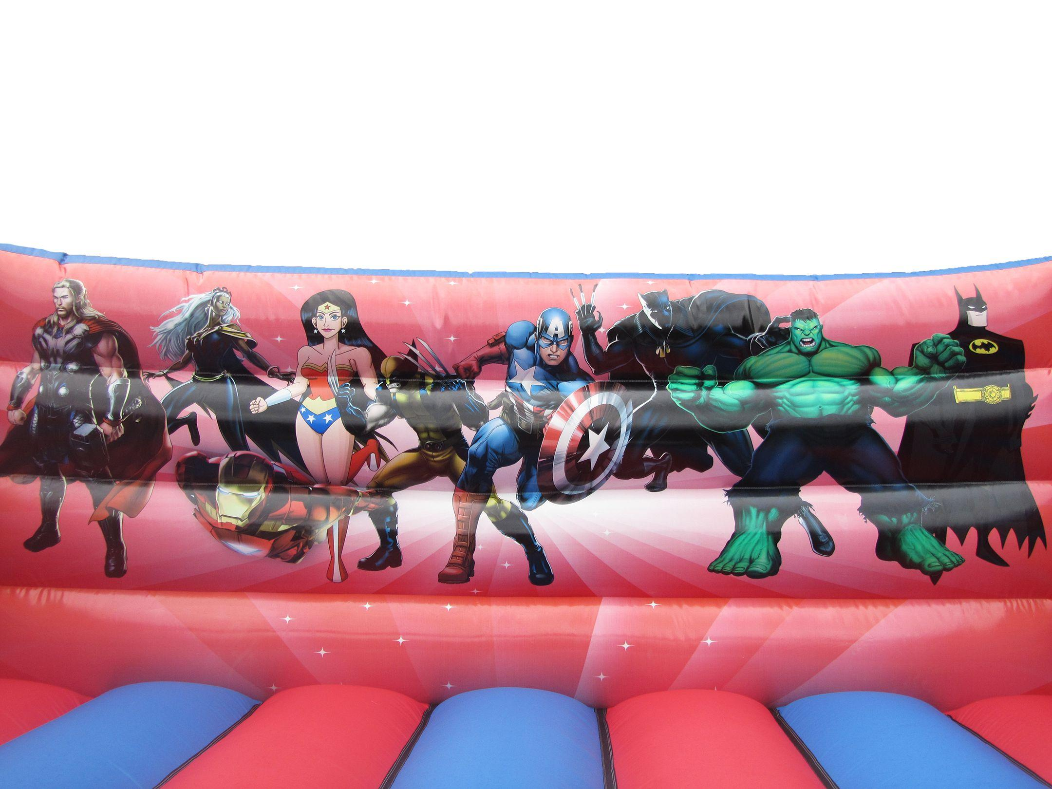 Superhero Artwork on Adults Bouncy Castle