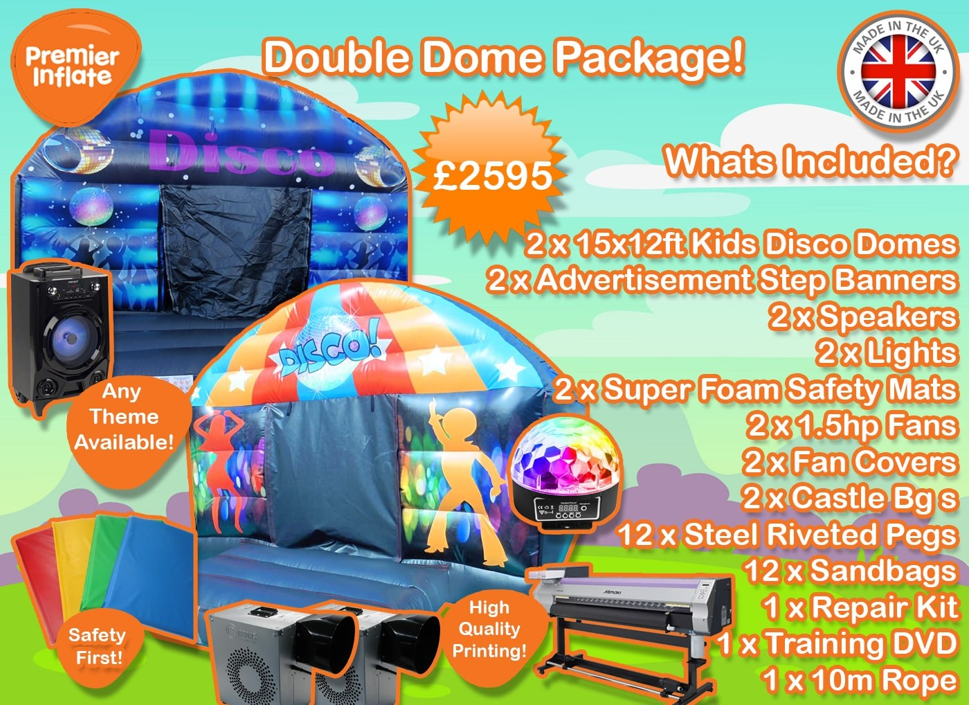 Disco Dome Bouncy Castle Package min