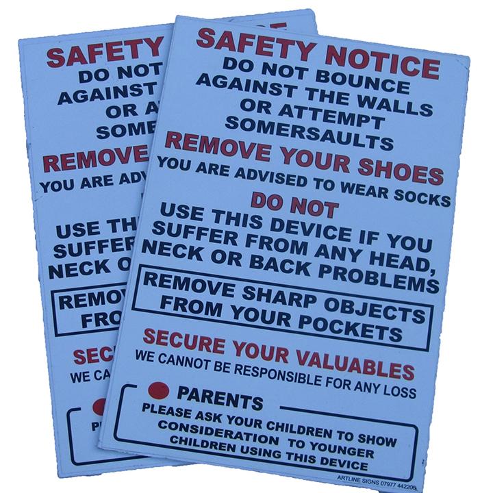 Bouncy castle Safety Notice