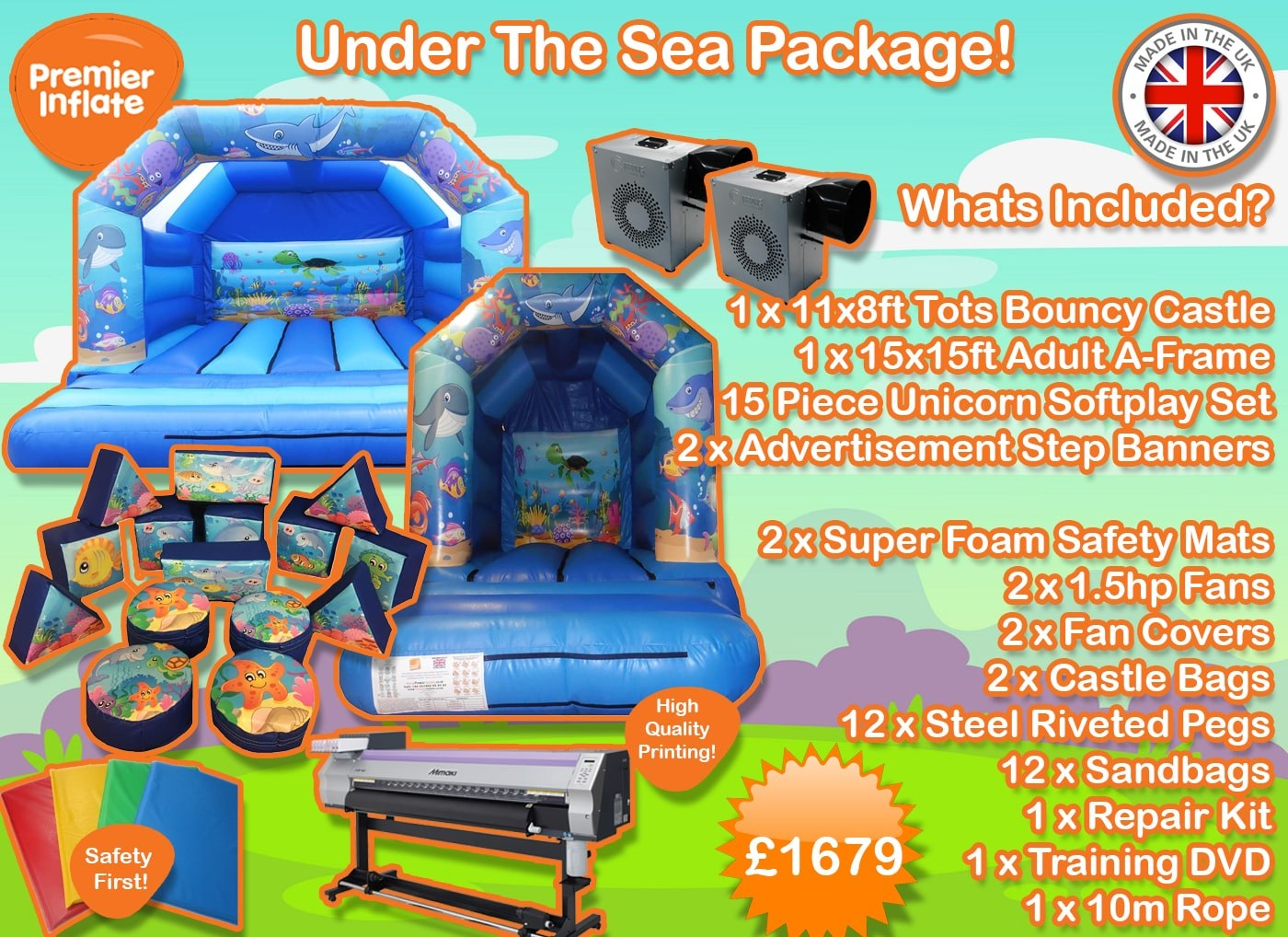 Under The Sea bouncy castles for sale package deal min