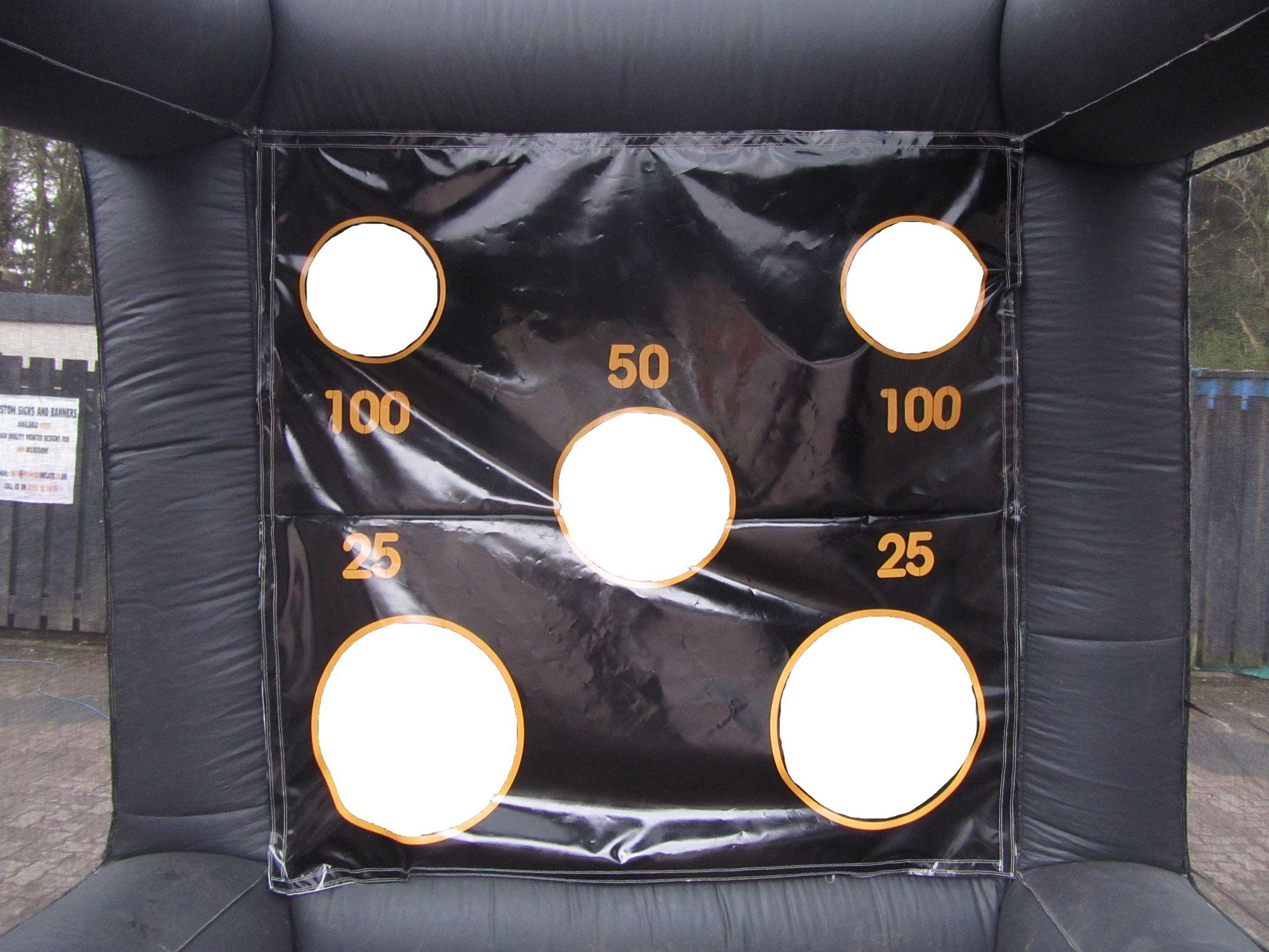 Black penalty shoot out inflatable printed backdrop compressor