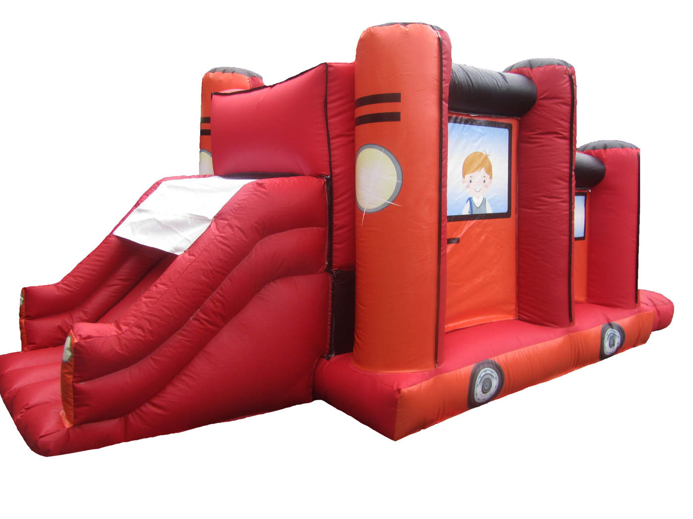 Jeep-inflatable-obstacle-course-slide-bouncy-castle-compressor