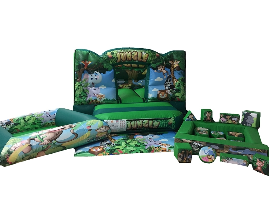 Jungle Soft Play Set with Toddler Bouncy Castle