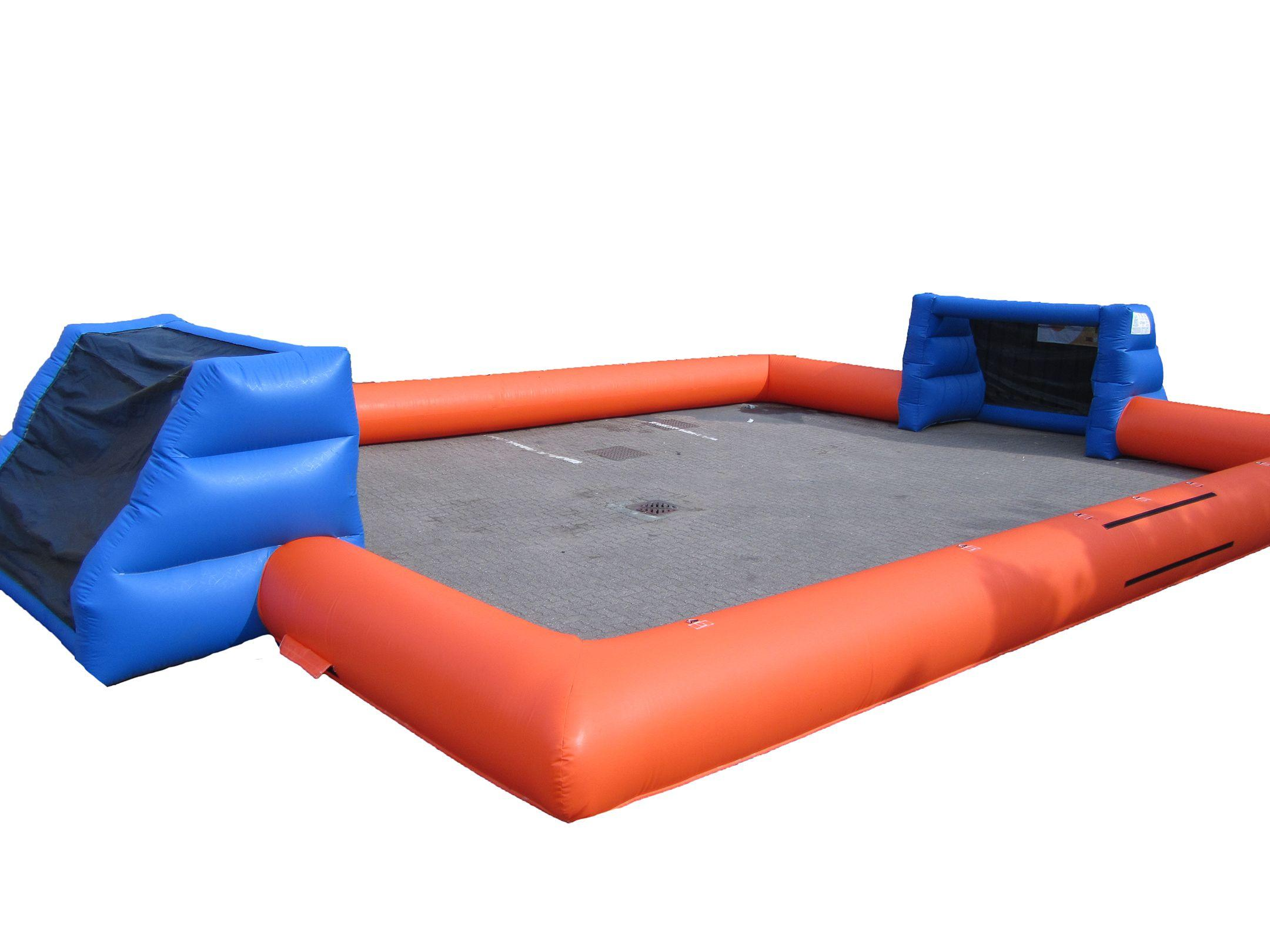 Orange blue inflatable football pitch 2 compressor