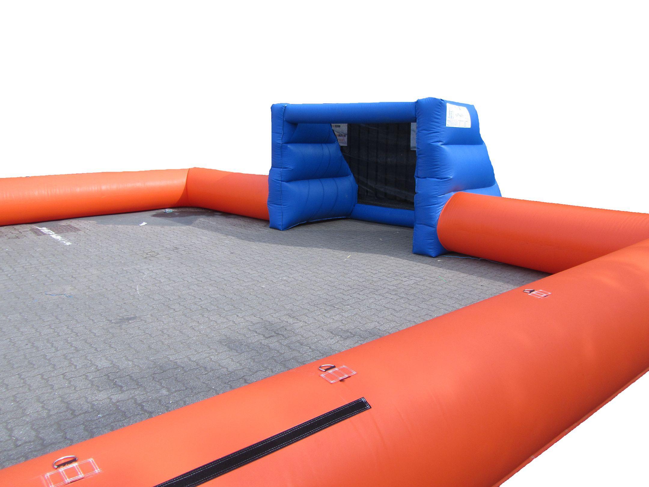 Orange blue inflatable football pitch 3 compressor