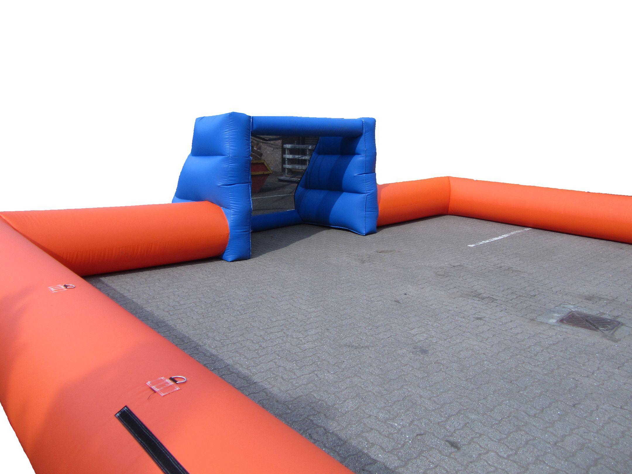 Orange blue inflatable football pitch 4 compressor