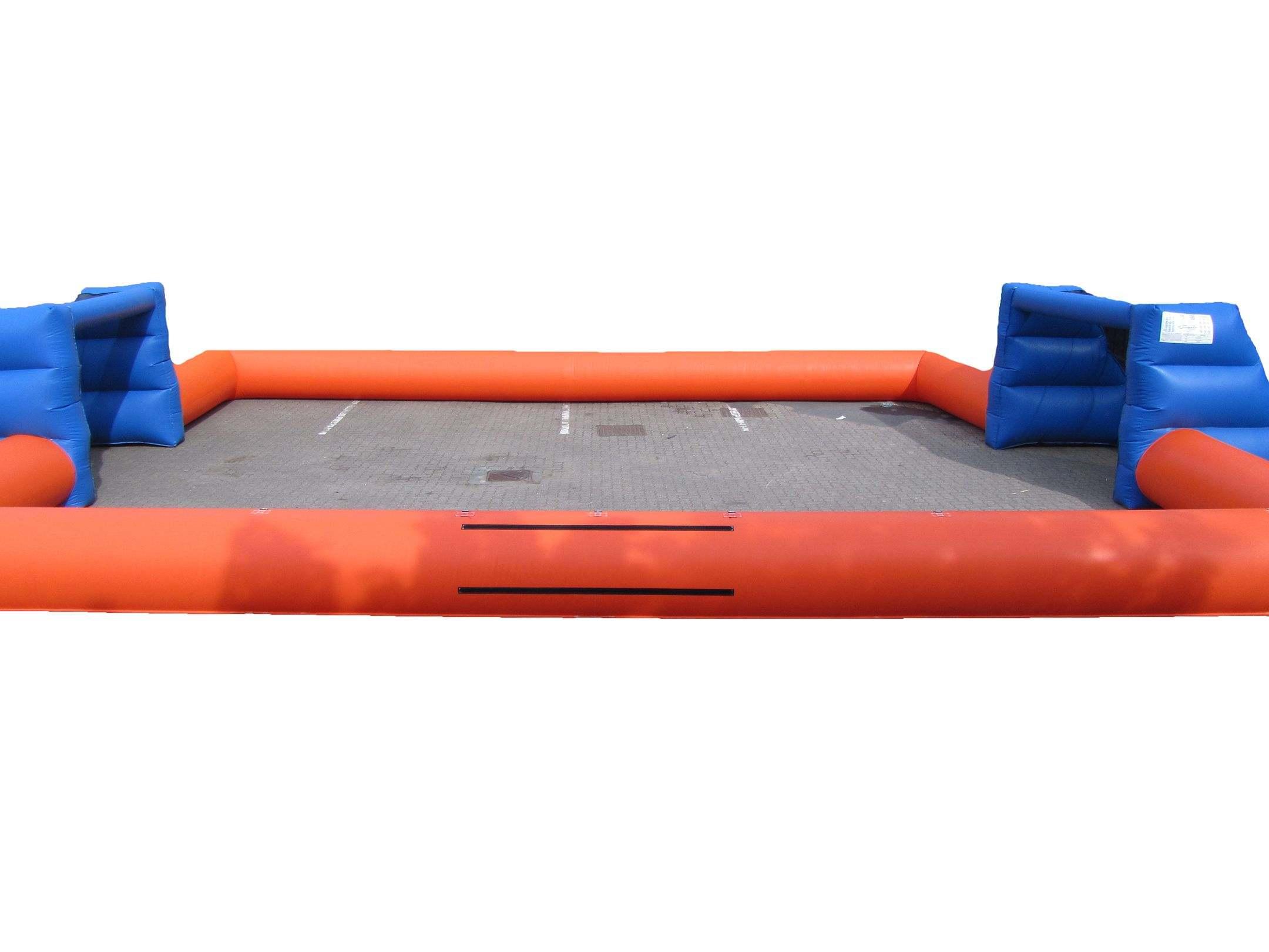 Orange blue inflatable football pitch 5 compressor
