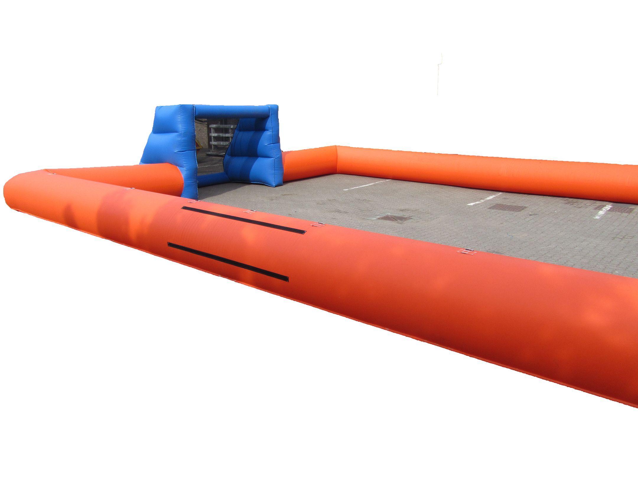Orange blue inflatable football pitch 6 compressor
