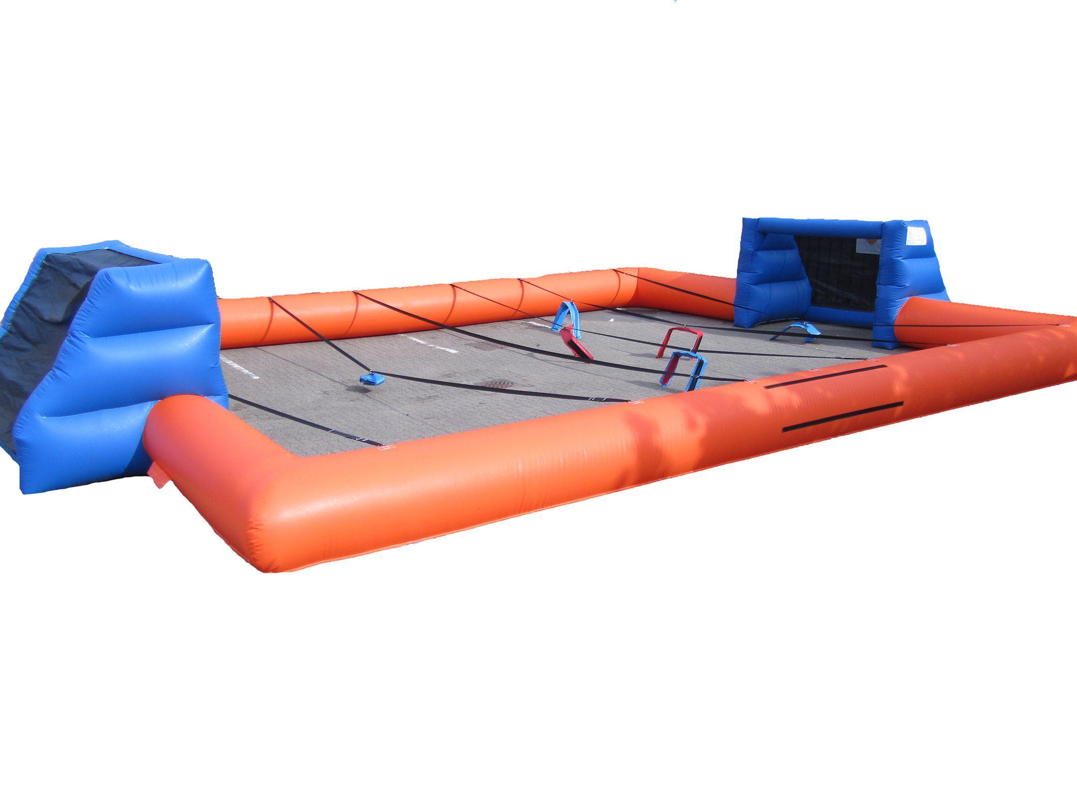 Orange blue inflatable football pitch compressor