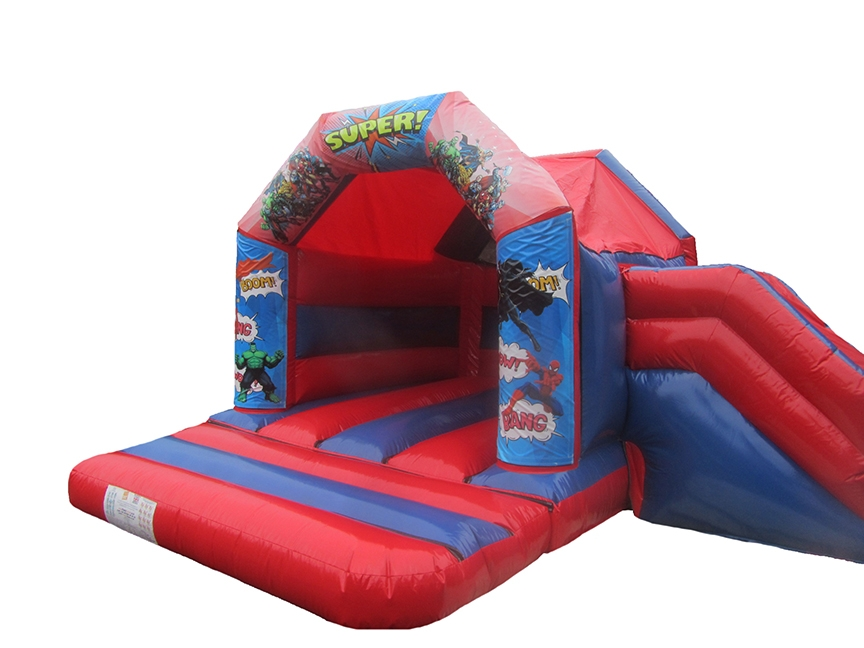 Combi Bouncy Castle with Velcro Superhero Artwork