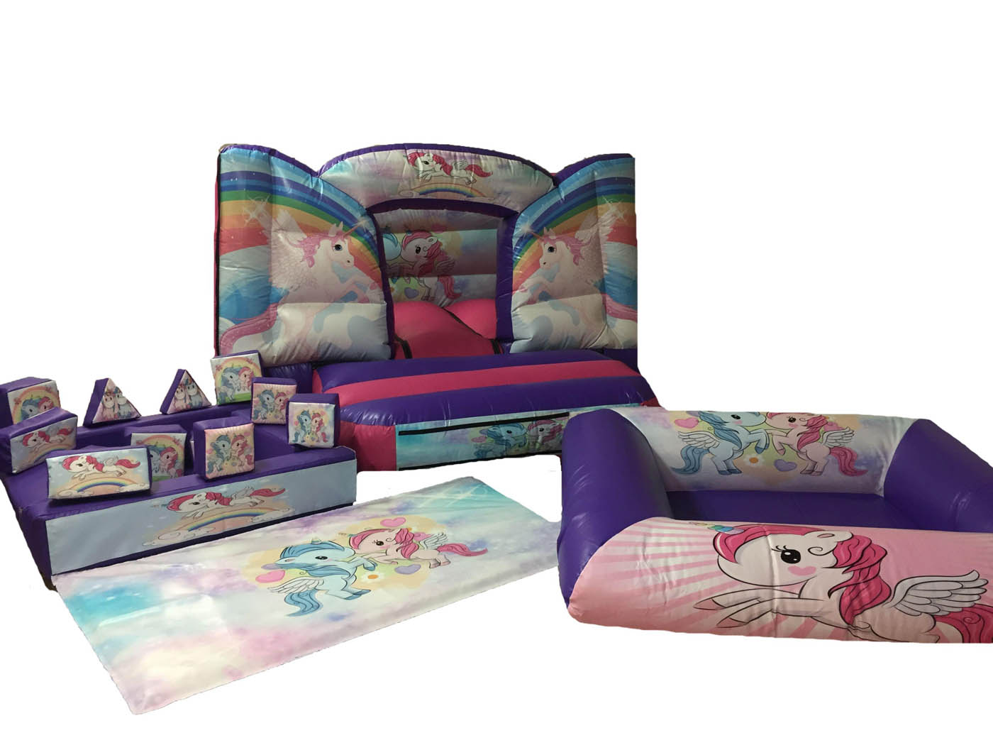 Inflatable Toddler Ball Pond Unicorn Themed with Soft Play Set