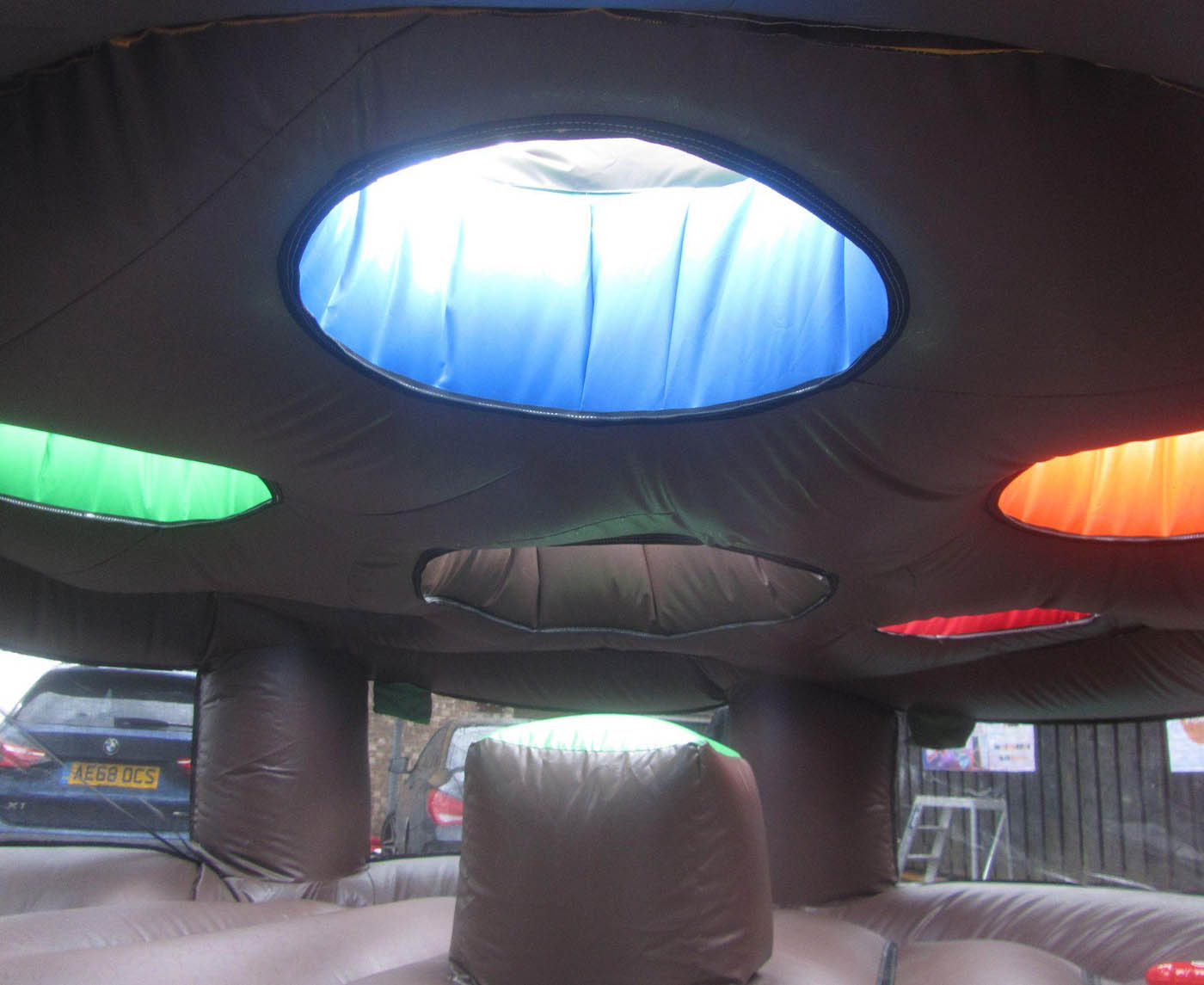 Inside of Inflatable Whack A Mole Activity Game